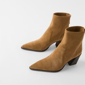 New zara camel tan suede leather boots blogger fav